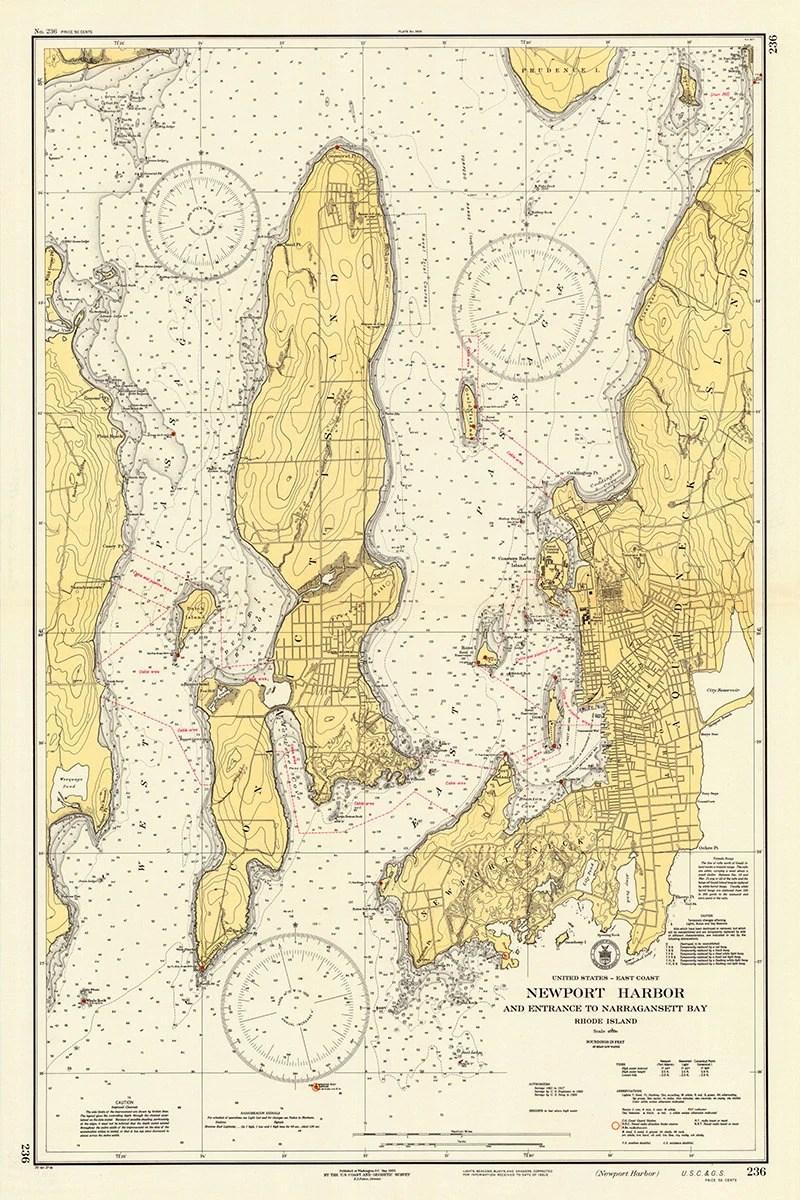 1937 Nautical Chart of Newport Harbor Etsy