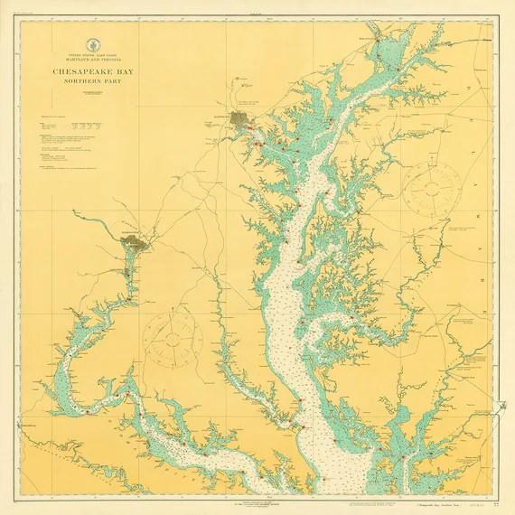 1916 Nautical Chart of Chesapeake Bay Etsy