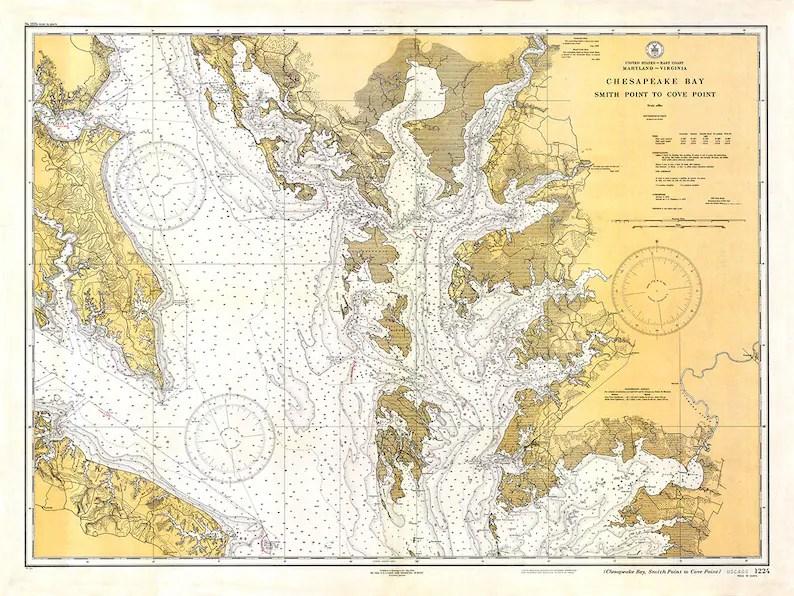 1934 Nautical Chart of Chesapeake Bay Etsy