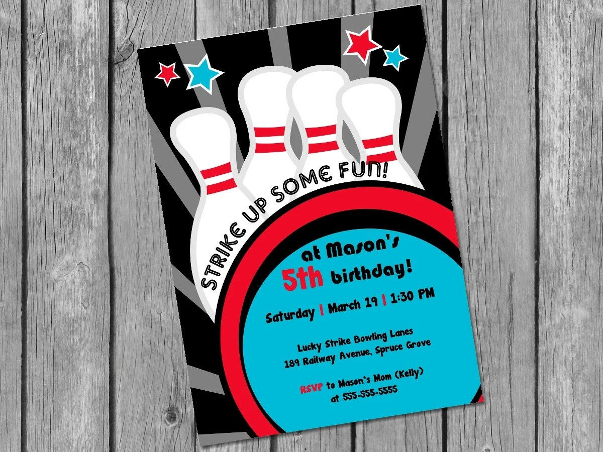 Printable bowling invitation / bowling birthday invite / printable