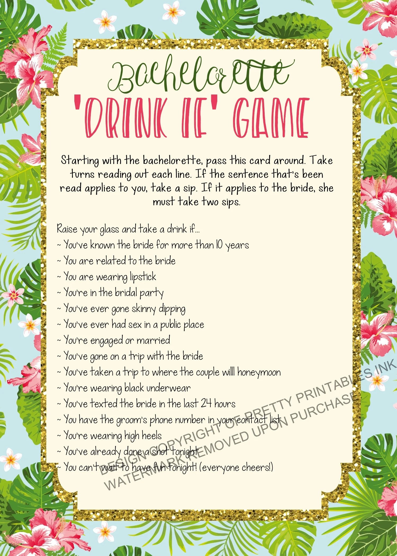 Printable bachelorette game/ bachelorette drinking game