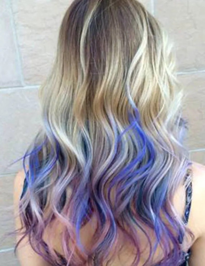 Ombre Look 5 Star Seller Grey Purple Ombre Hair Extensions Silver Hair Grey Hair Extensions Gray Ombre Hair Human Hair Extensions Full Set