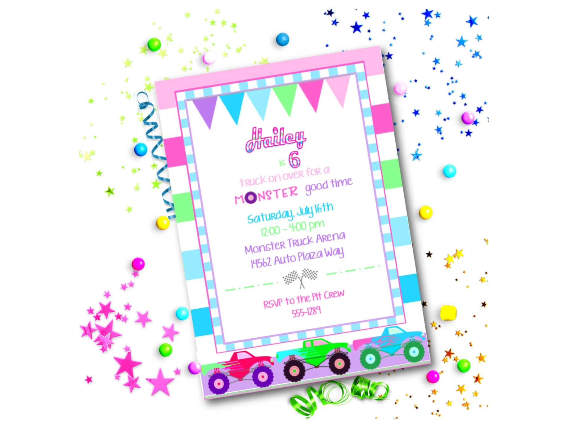 TRUCK Party Editable INVITE ~ Editable diy Template ~ Printable