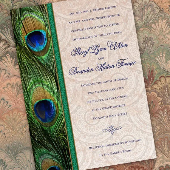 wedding invitations, peacock wedding invitations, peacock bridal