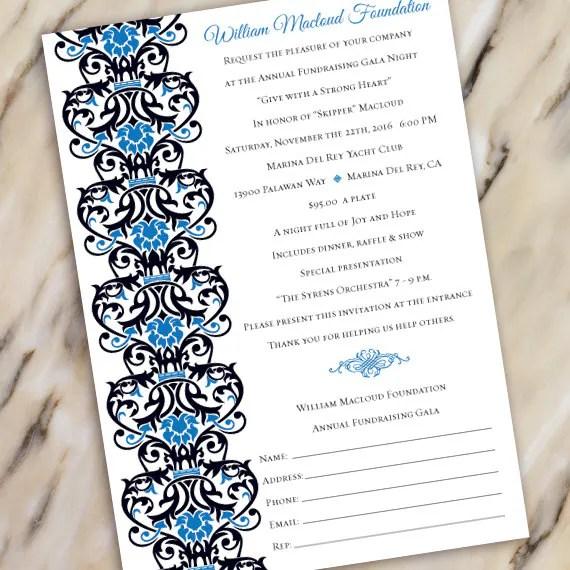 wedding invitations, fundraising gala invitation, black tie event