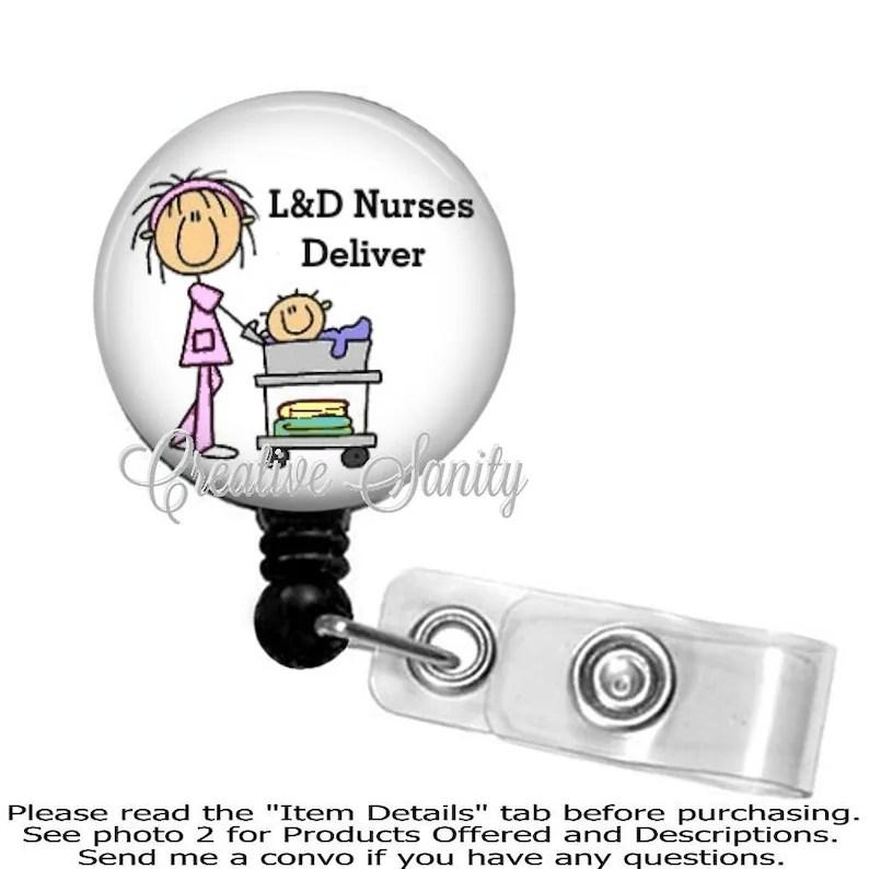 Retractable Badge Holder L  D Nurses Deliver Labor and Etsy