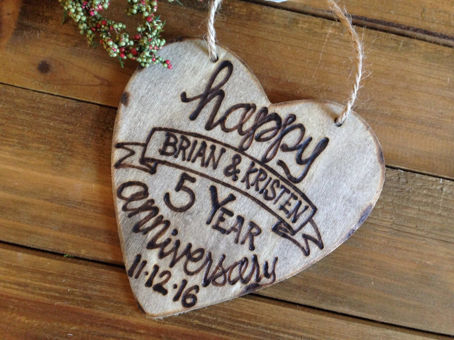 Holiday Ornament 5th 1st Anniversary Wood Lettering Modern Etsy