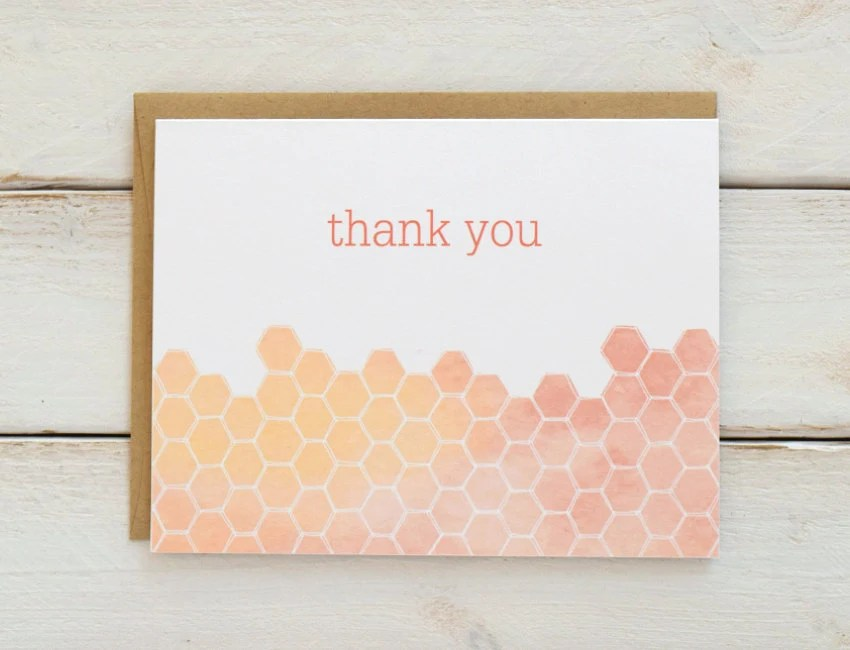 Honeycomb Thank You Cards Bridal Shower Thank You Cards Etsy
