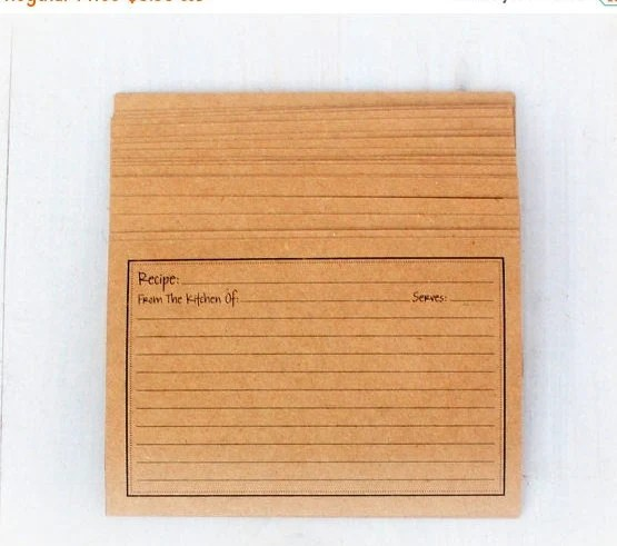 Recipe Cards Rustic Vintage Style Kraft 4x6 SET of 24 Cards Etsy
