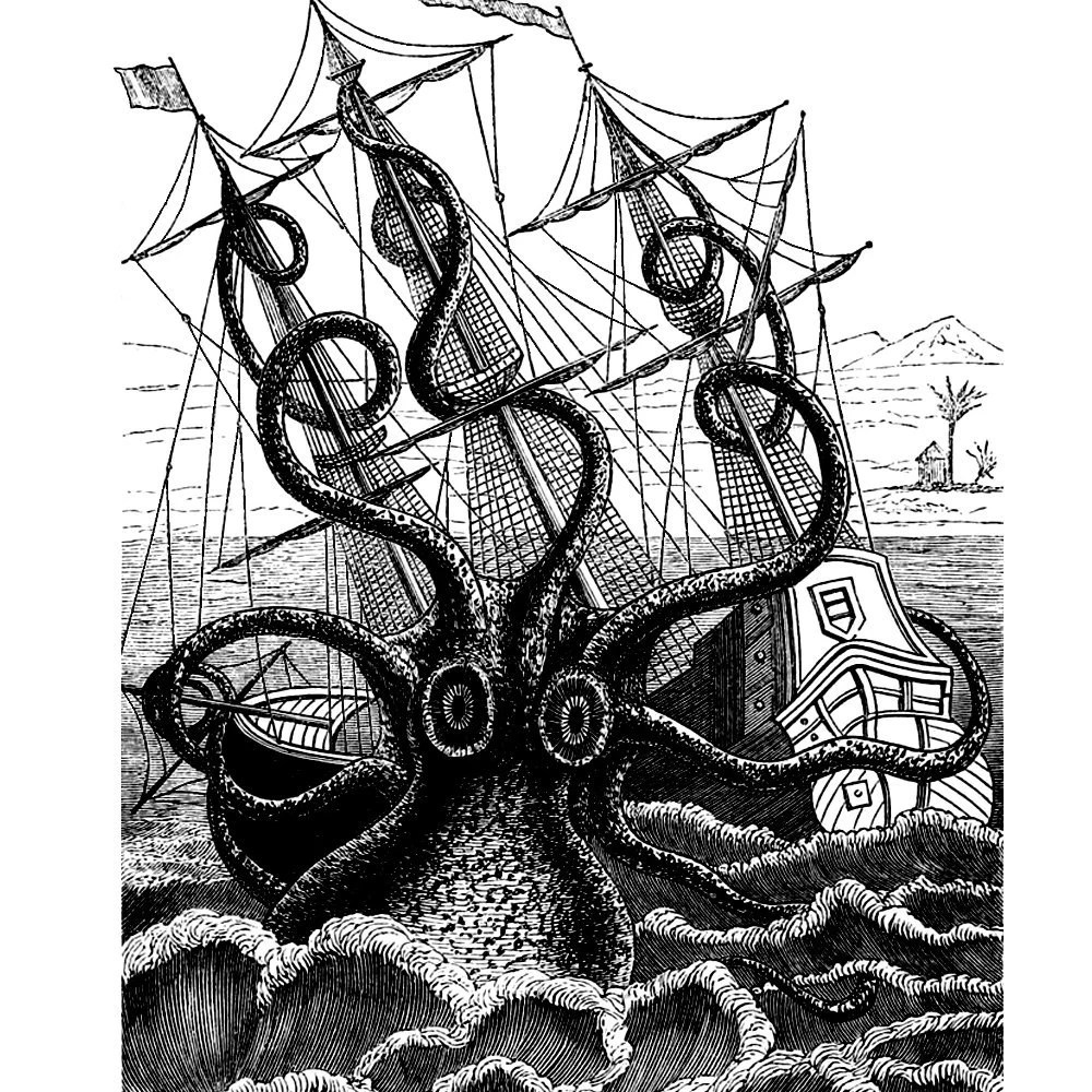 Giant Octopus Attacks Pirate Ship Nautical Vintage Style Art Etsy