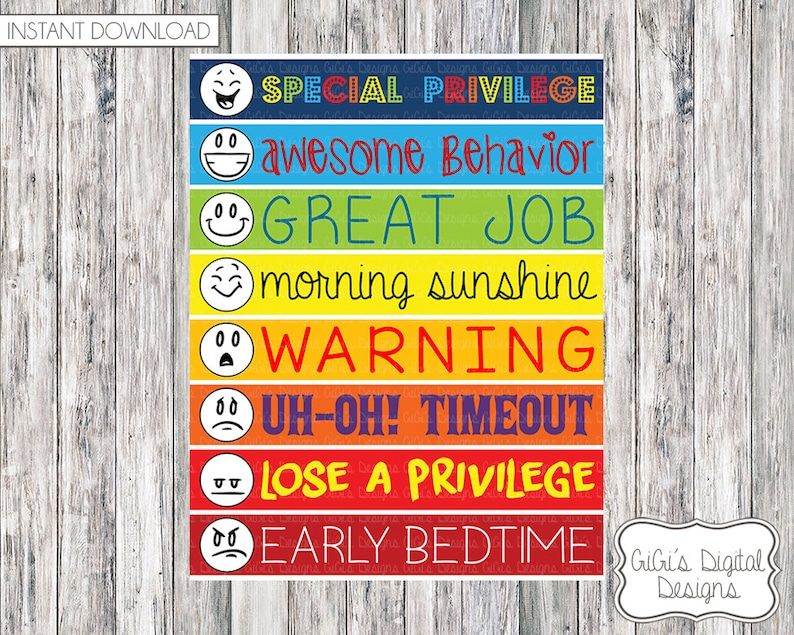 11x14 Behavior Chart for kids Childrens Behavior Chart Etsy