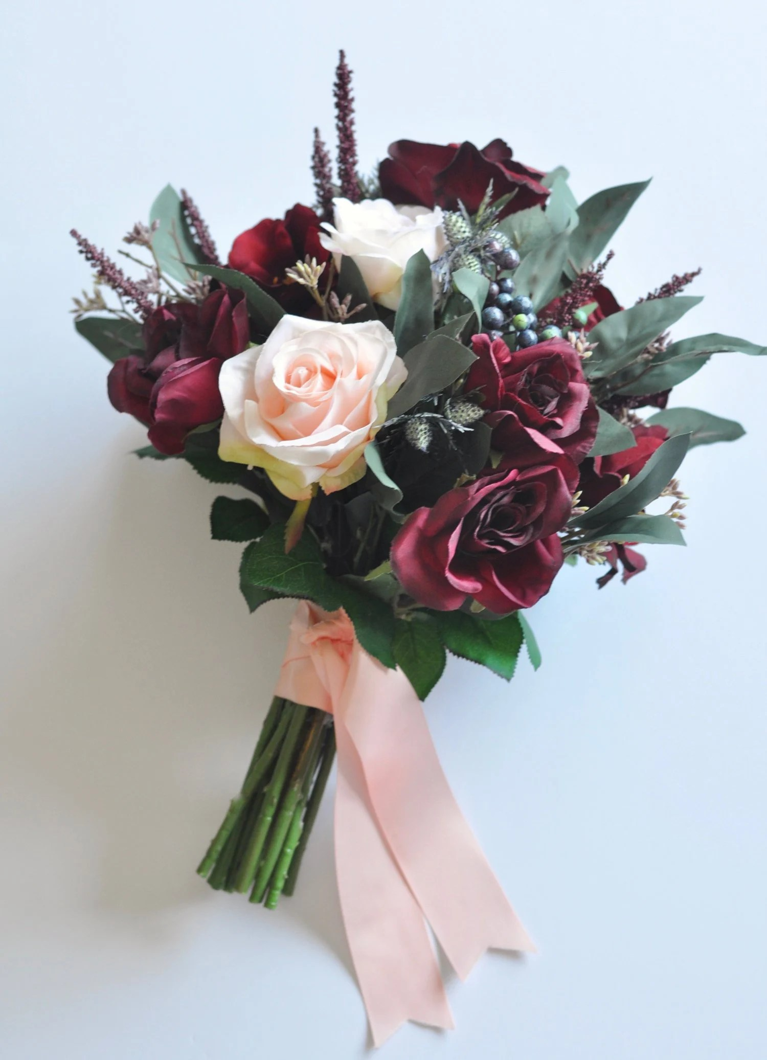 Celina Küchen Finn Burgundy Wedding Bouquet Wedding Flowers Bridal Bouquet Thistle Eucalyptus Roses Artificial Flowers Destination Wedding Silk Flowers