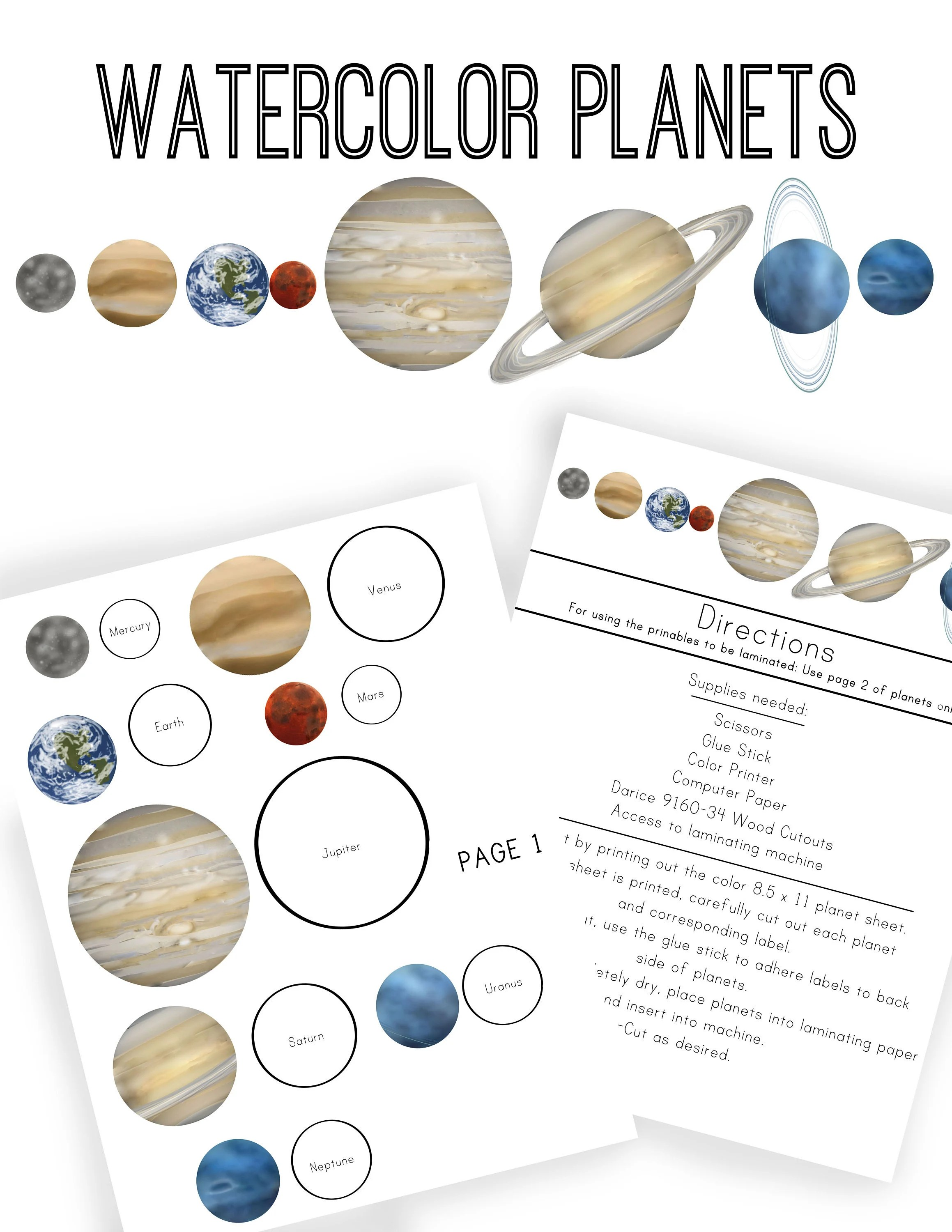 Watercolor Planet Printable Download Etsy