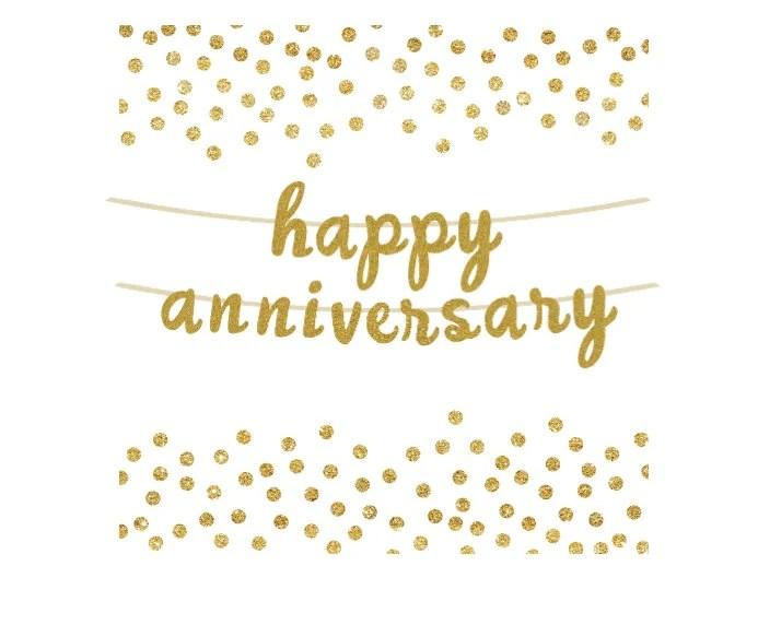 Happy Anniversary Gold Glitter Banner Photo Prop Anniversary Etsy