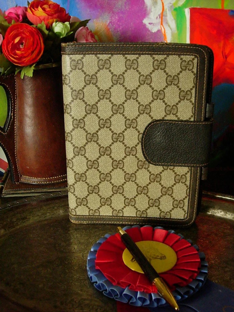 Etsy Vintage Gucci Handsome Ultra Rare Vintage Gucci Monogram And Leather Notebook Portfolio Organizer Agenda Accessory Decor Gift With Original Pen