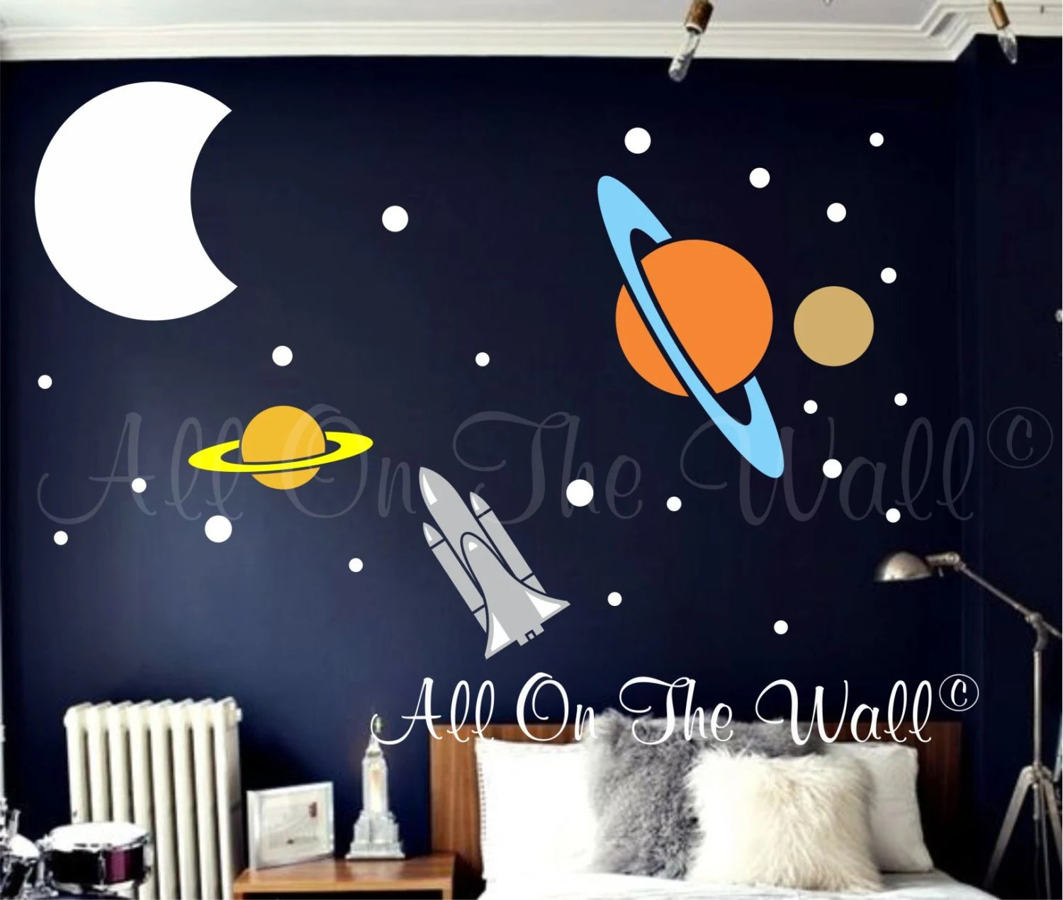 Planets Wall Art Planets Wall Decal Space Theme Decals Rocket Wall Decal Solar System Decals Boys Room Decals Outer Space Decor Vinyl Wall Art For Kids