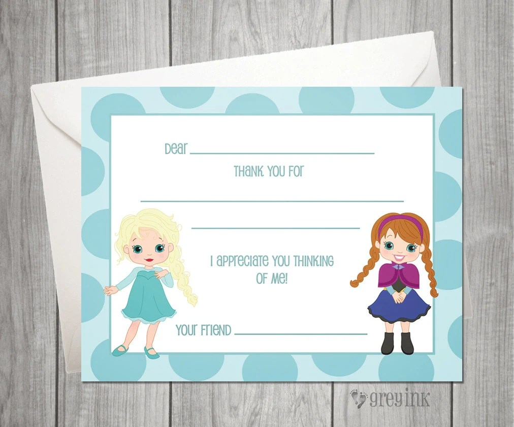 Fill In the Blank Thank You Notes Frozen Themed Etsy