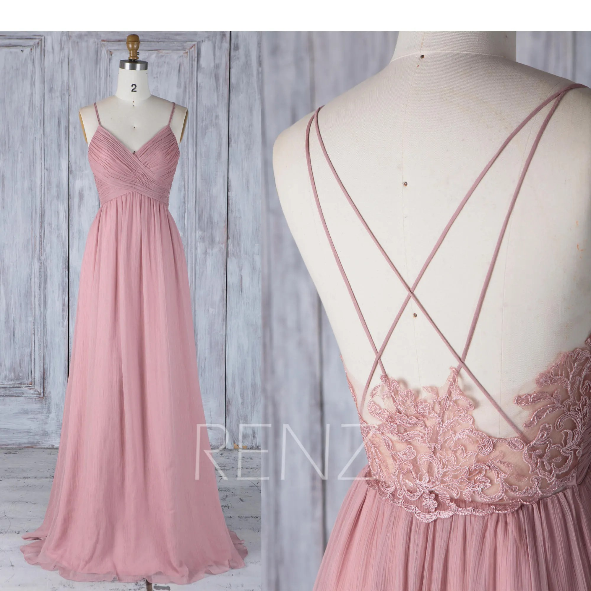 Www 123 Tv Bettwäsche Bridesmaid Dress Dusty Rose Chiffon Wedding Dress Spaghetti Straps V Neck Long Prom Dress Illusion Lace Low Back A Line Evening Dress H497a