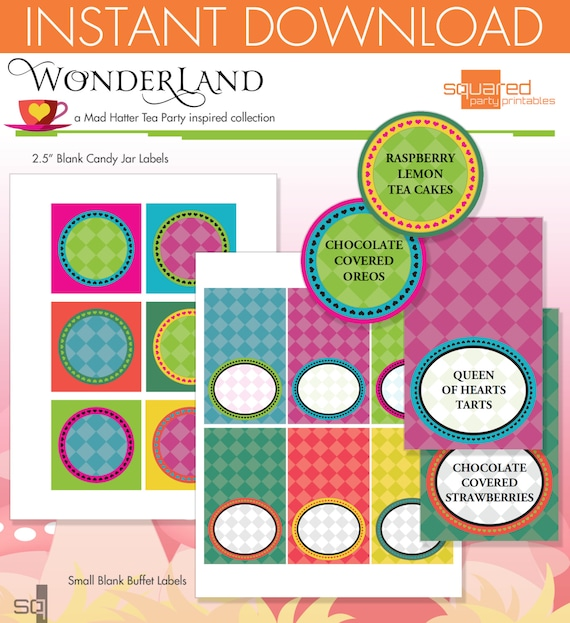 Mad Hatter Tea Party Inspired Printable Candy Jar and Small Buffet