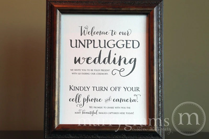 Unplugged Wedding Ceremony Sign Turn Off Cell Phone Signage