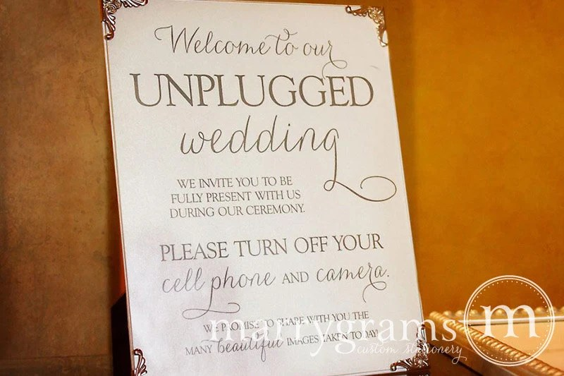 Unplugged Wedding Ceremony Sign Sign Turn Off Cell Phone