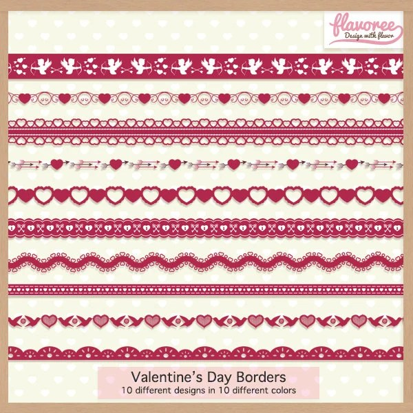 Digital Scrapbooking Border Pack VALENTINE\u0027S DAY BORDERS Etsy - 's day borders