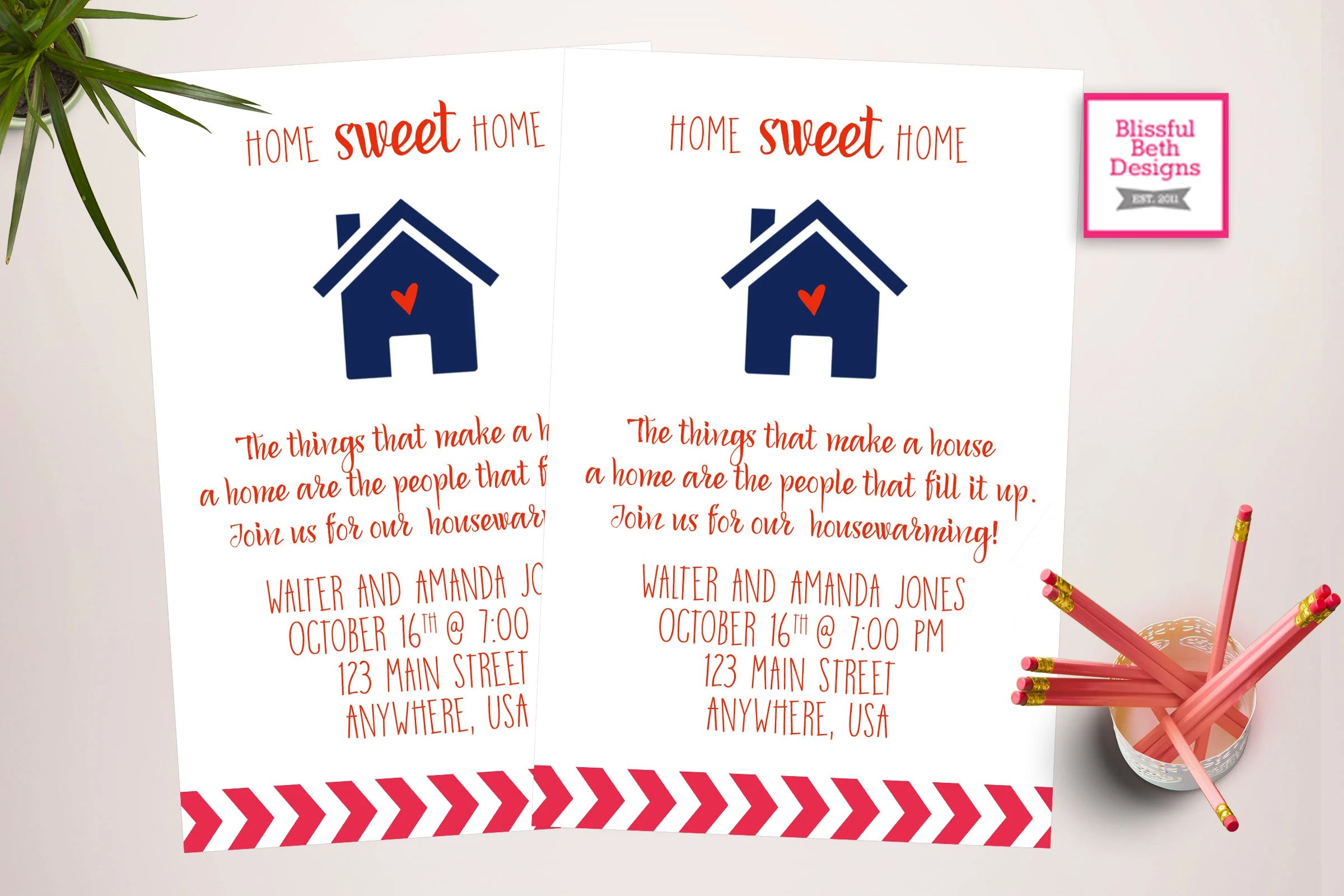 HOUSEWARMING INVITATION Housewarming Invitation Home Sweet Etsy