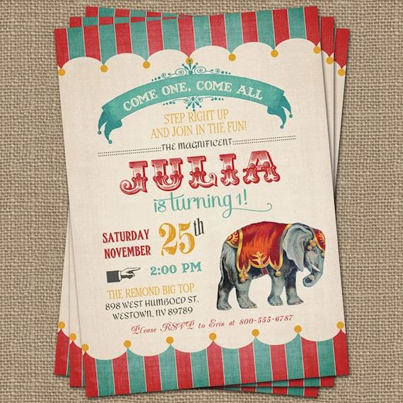 Vintage Circus Birthday Invitation Circus Party Digital - Circus Party Invitation