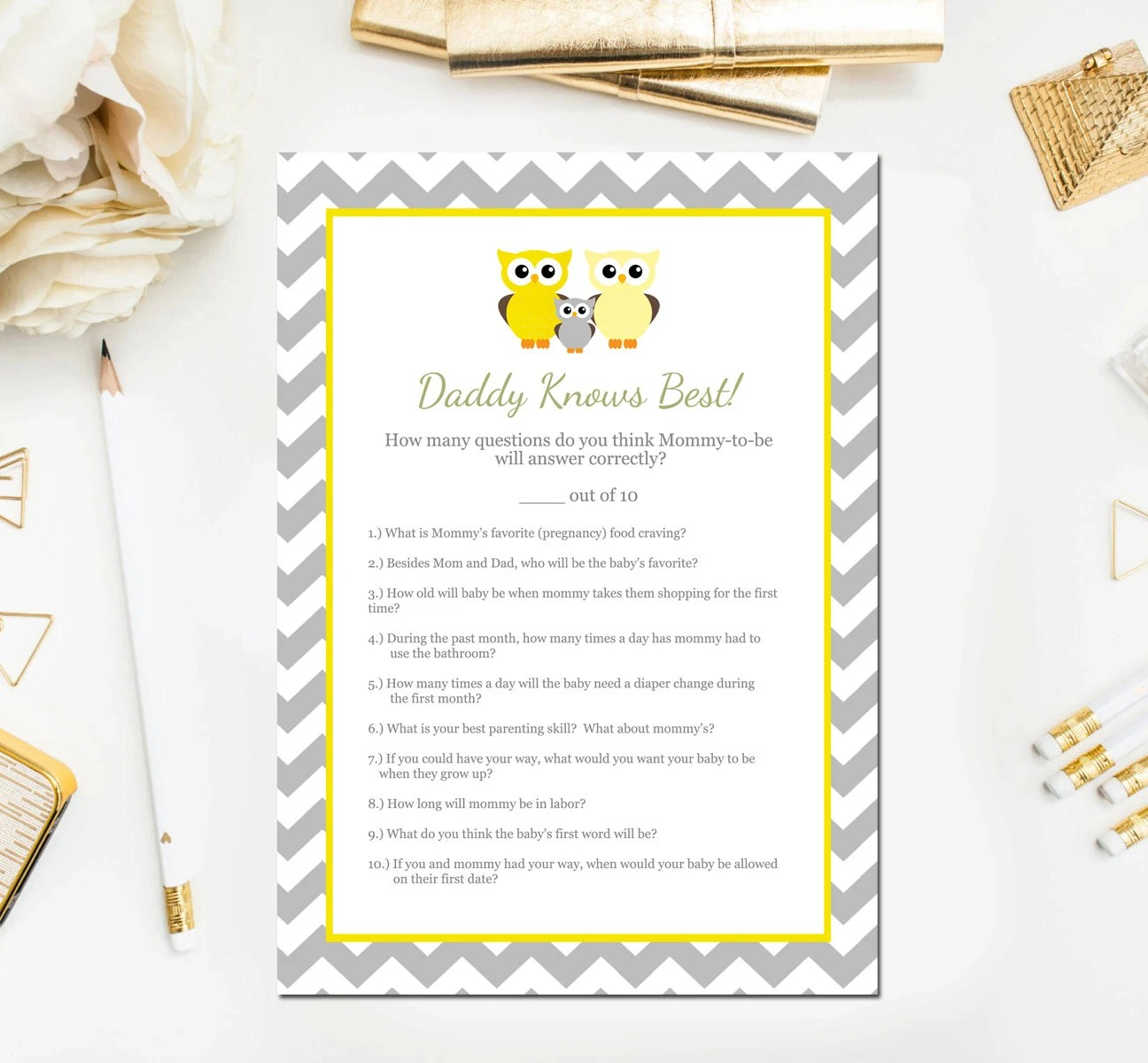 Late Night Diapers Game Sign, Purple Owl Printable Baby Shower Decor