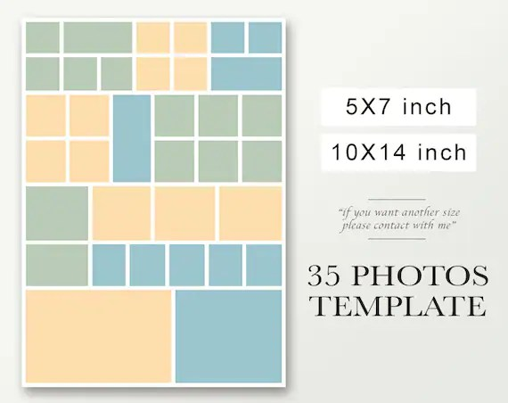 Photo Collage Holiday Wedding template Postcard template Etsy - postcard collage template