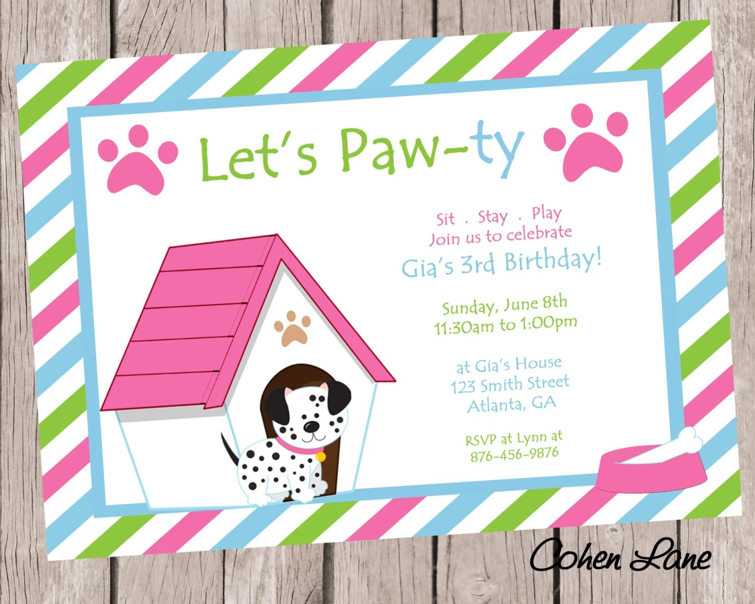 Puppy Birthday Party Invitation - Dog Party Invite - Puppy Party