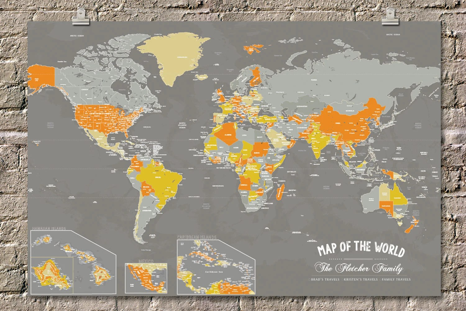 World map insets Custom world map Pin board map Map with Etsy