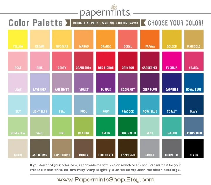 Color Chart for Papermints Prints Canvas and Stationery Etsy