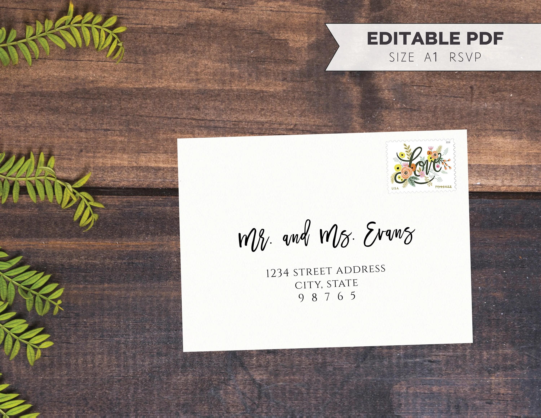 A1 RSVP Envelope Template   DIY Calligraphy Printable Wedding Etsy