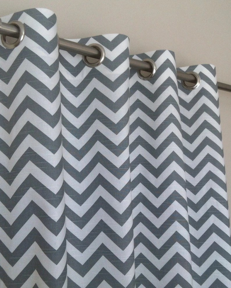 Black And White Chevron Blackout Curtains Ash Gray White Modern Zig Zag Chevron Curtains Grommet 63 72 84 90 96 108 120 Long X 25 Or 50 Wide