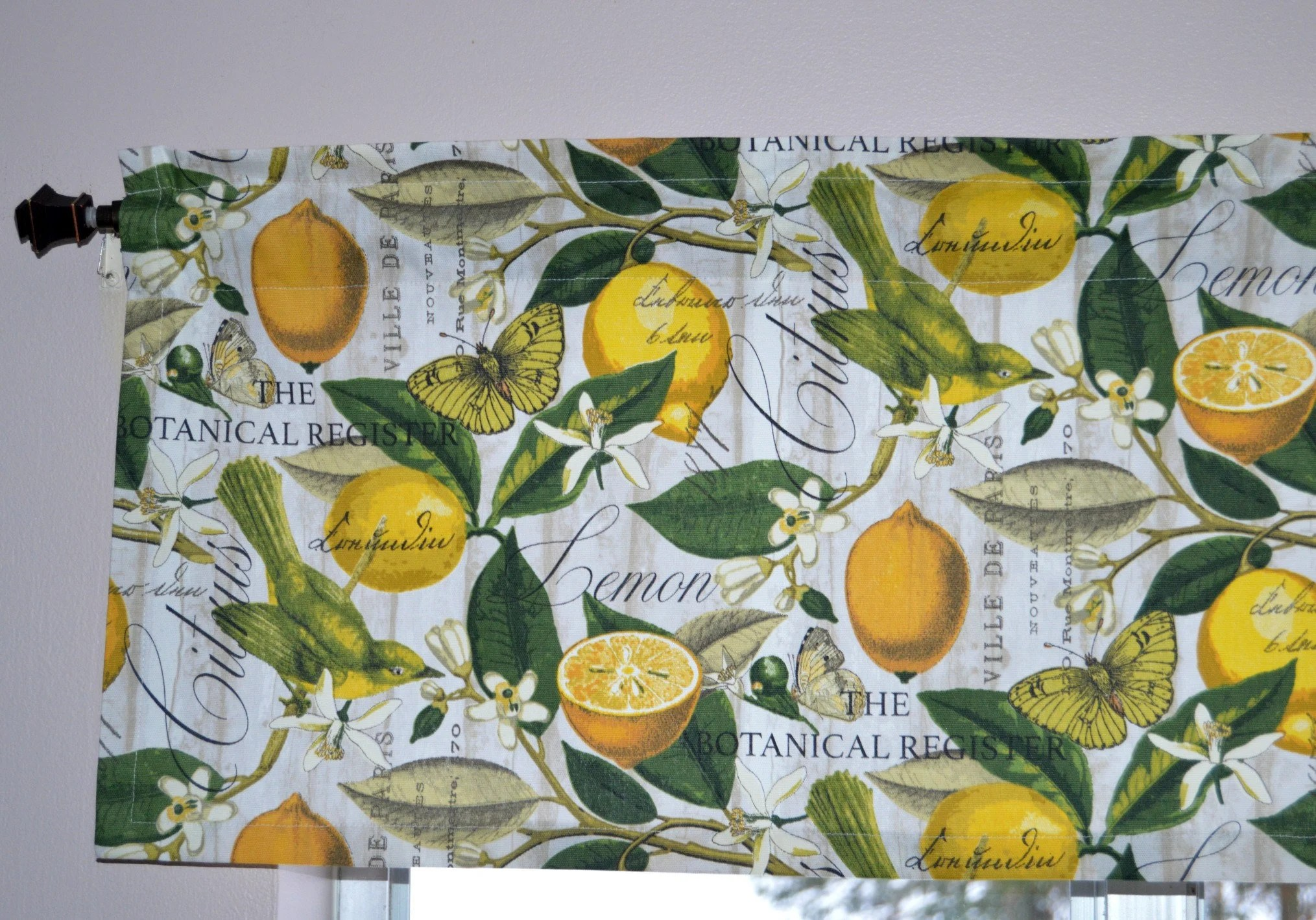 Lemon Green Curtains Lemon Kitchen Valance French Lemon Botanical Curtain Laundry Room Yellow Kitchen Curtains Butterfly Bird Floral Valance