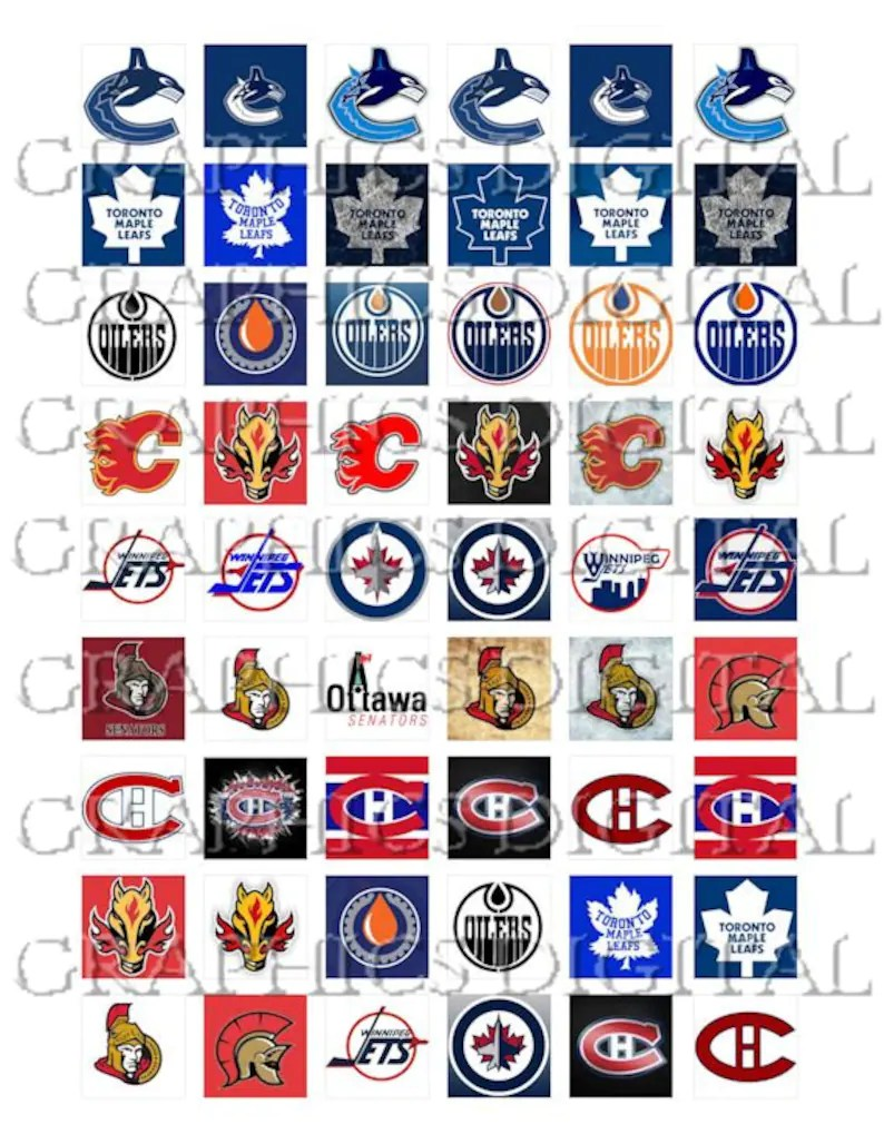 Hockey Logos National Hockey League Canadian Hockey Logos Sports Digital Graphics Download Digital Collage Sheet Download 1 Inch Squares Hockey Canada