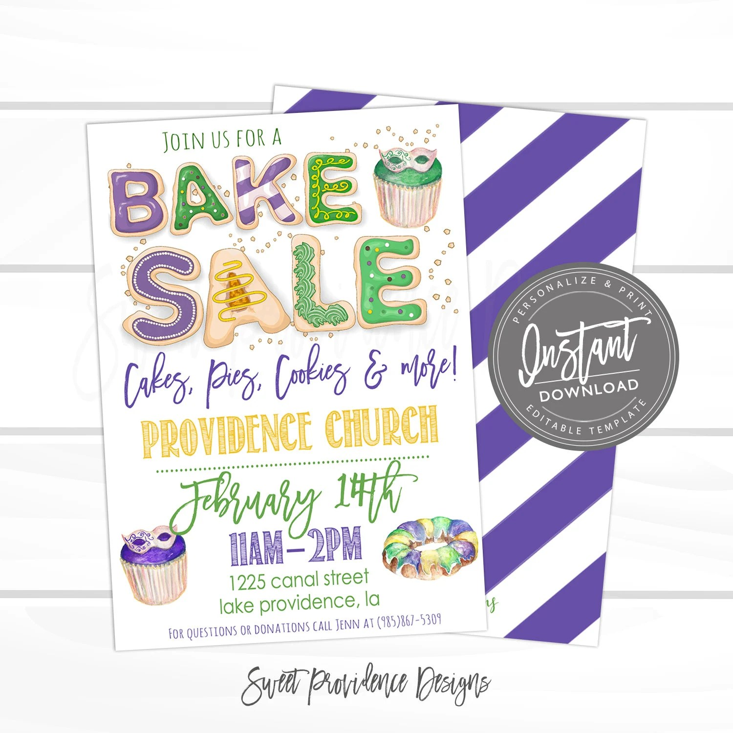 Mardi Gras Bake Sale Flyer, Bake Sale Flyer, Cookies, holiday