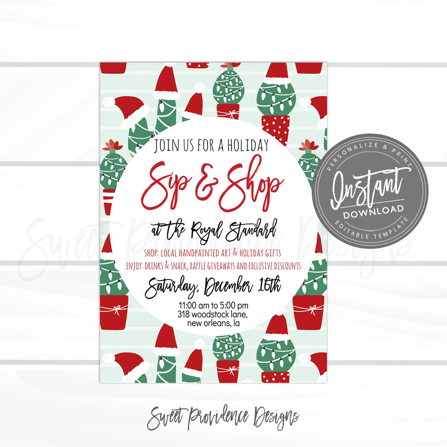 Christmas Flyer Editable Cactus Sip  Shop Holiday Boutique Etsy