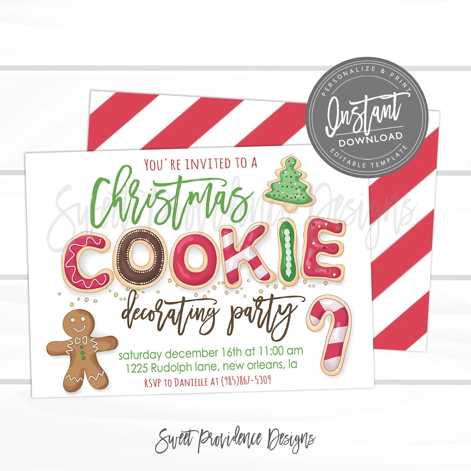 Christmas Cookie Decorating Party, Editable Christmas Party template
