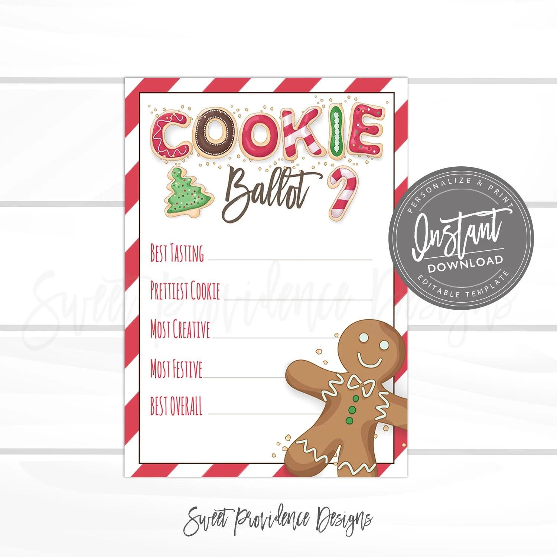Christmas Cookie Exchange Voting BallotEditable Christmas Etsy