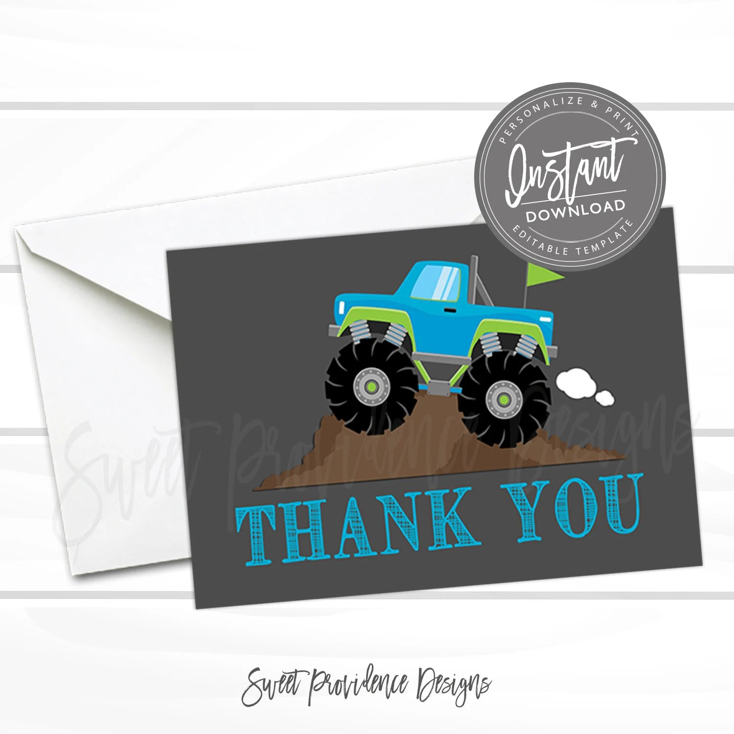 Monster Truck Thank You Card, Printable Thank you Card template