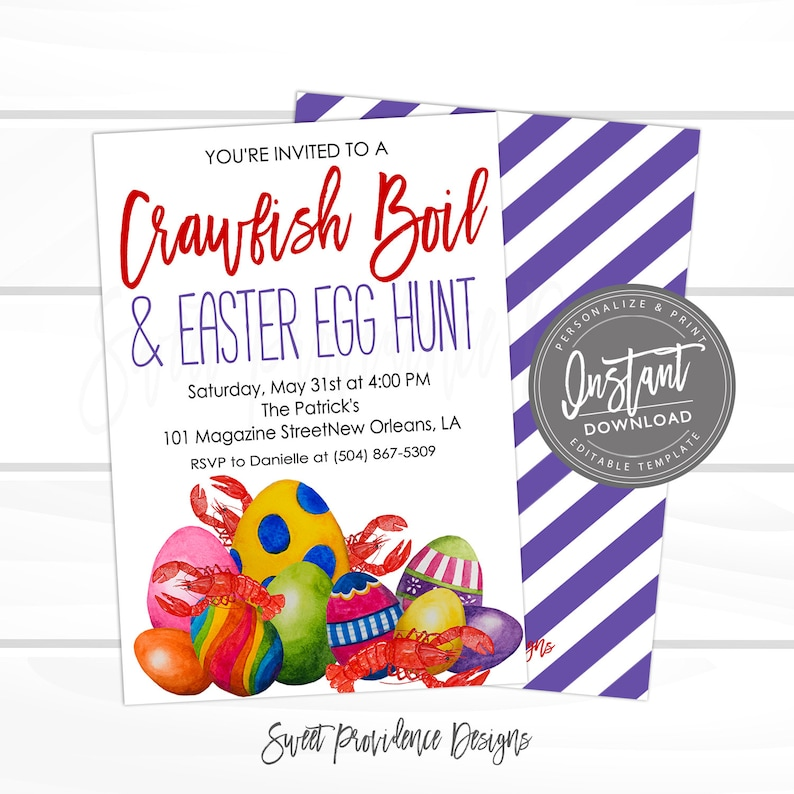Crawfish Boil Invitation Easter egg hunt Crawfish Boil Etsy