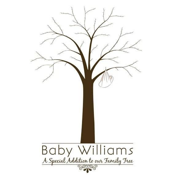 Printable Baby Shower Fingerprint Tree Etsy