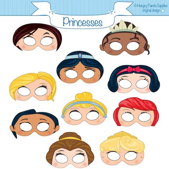 Princess Masks Printable Princess Character Party Masks Etsy