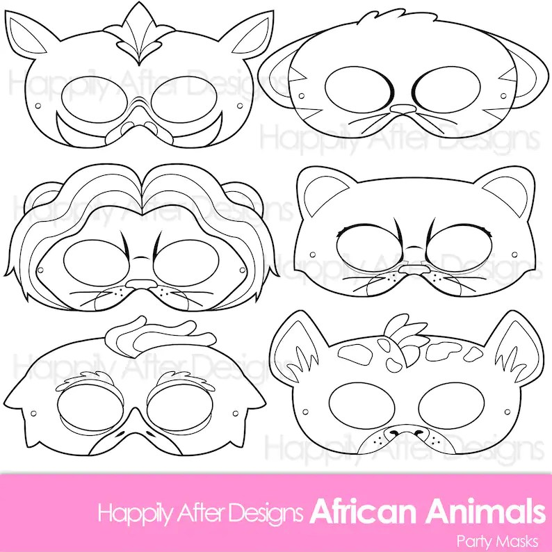 African Animals Printable Coloring Masks lion mask hyena Etsy