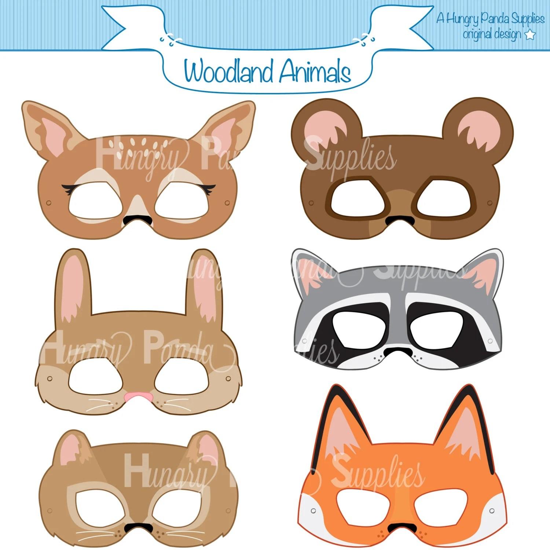 Woodland Forest Animals Printable Masks woodland animal mask Etsy
