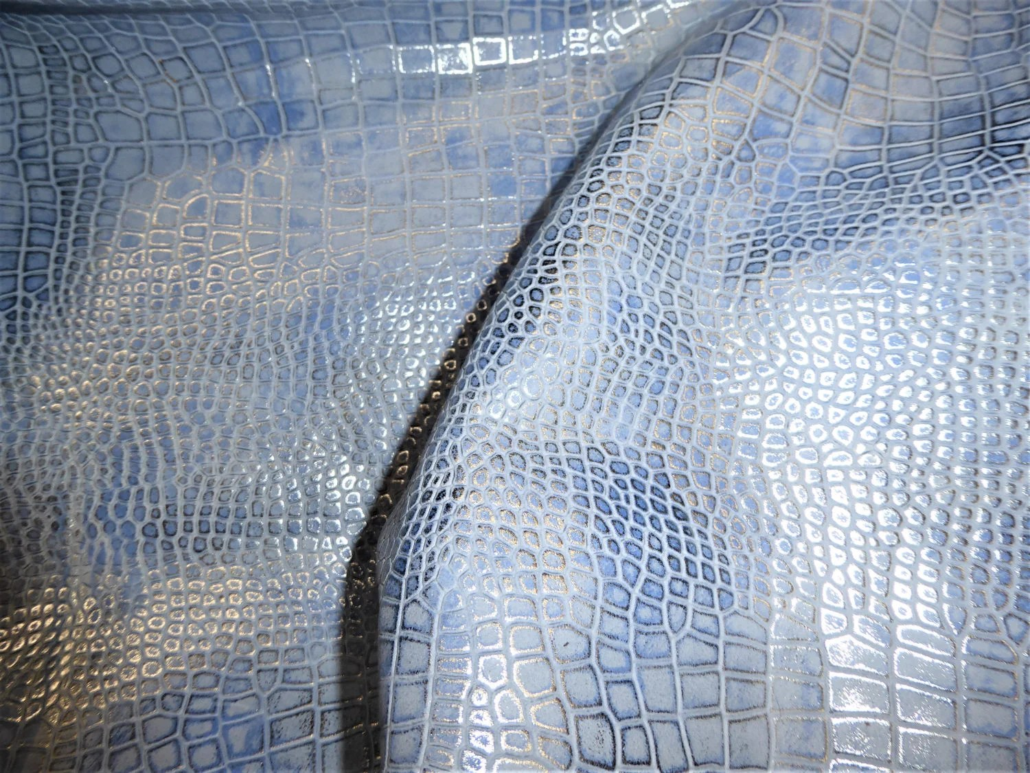 8mm Jeans Leather 12x12 Croco Electra Silver Metallic On Denim Blue Cowhide
