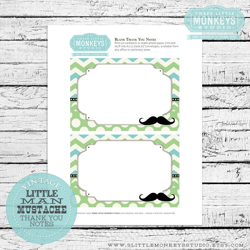 INSTANT DOWNLOAD Little Man Mustache Blank Thank You Notes Etsy