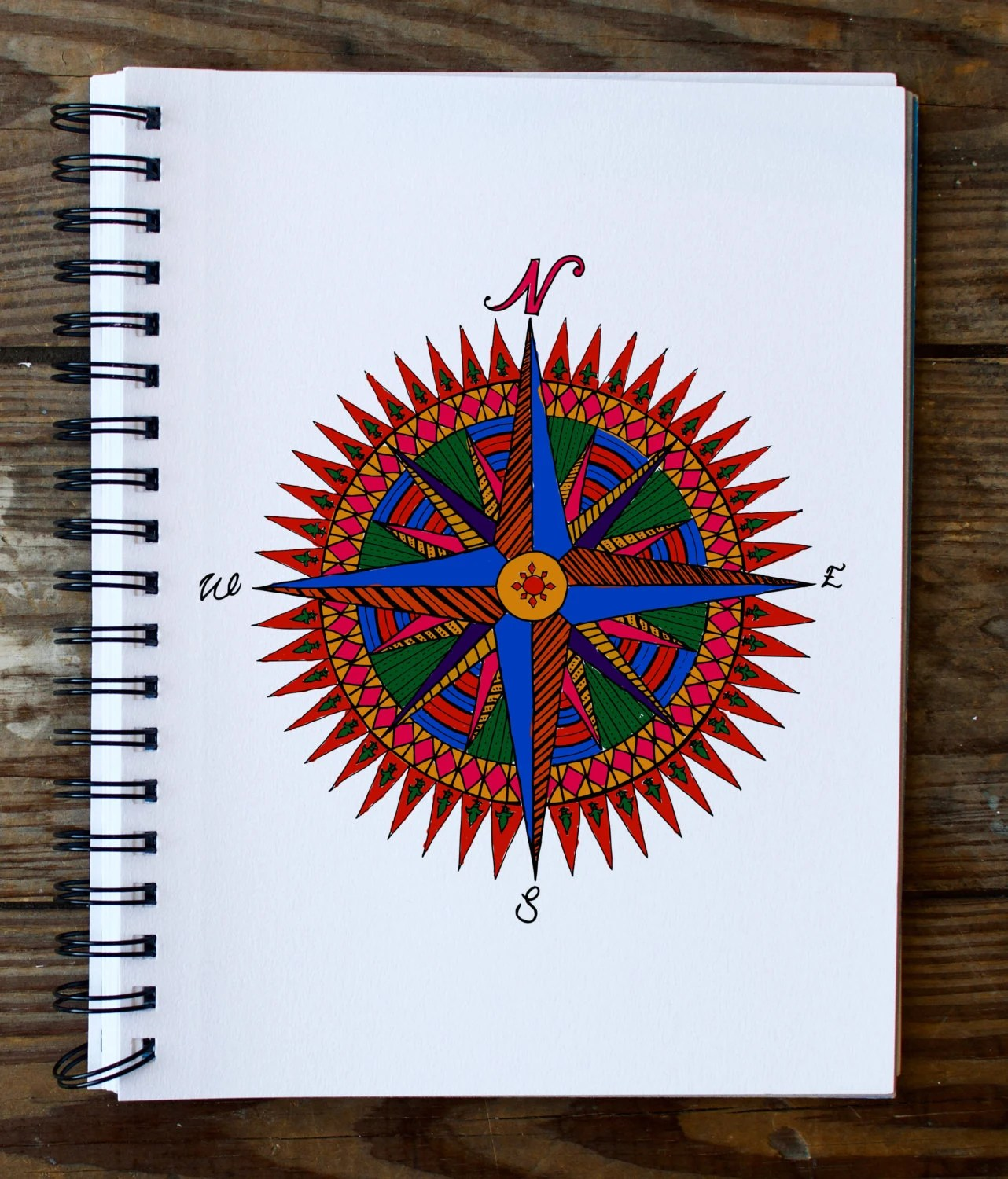 Compass Rose Mandala Coloring Page Instant PDF Download Etsy